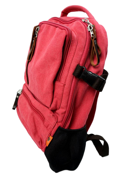 Rose Red Sporty Laptop Backpack right side with mesh drink pouch