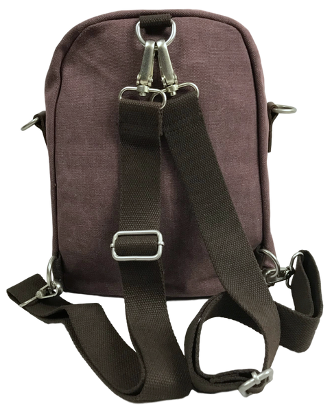 Purple Backpack, Sling, Crossbody Convertible Bag Back