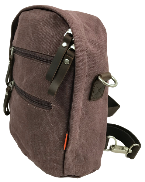 Purple Backpack, Sling, Crossbody Convertible Bag Side Angle