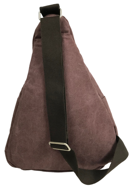 Purple Sling Backpack Back with One Cross Body Strap