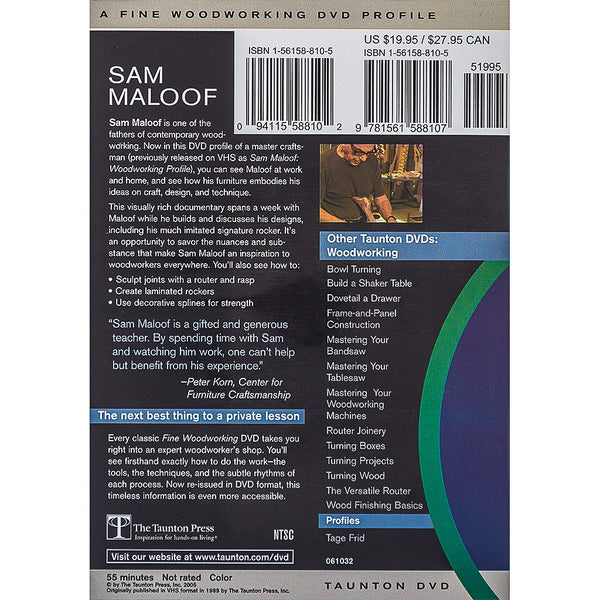 Sam Maloof, a Fine Woodworking DVD Profile by Taunton Press, DVD