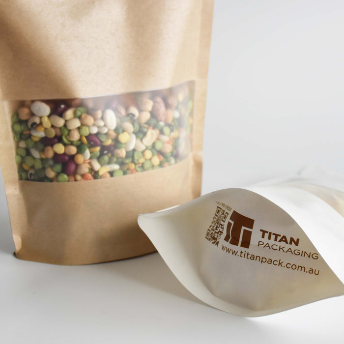 Matte Kraft Paper Stand Up Pouch with Rectangular Frosted Window - Titan Packaging