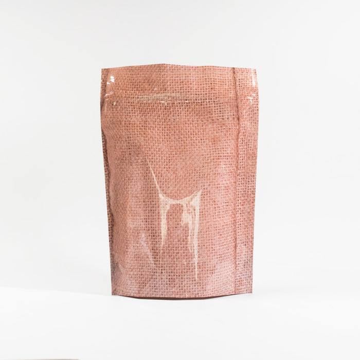 Printed Hessian K-Bottom Stand Up Pouch with resealable Zip Tear Notch - Titan Packaging