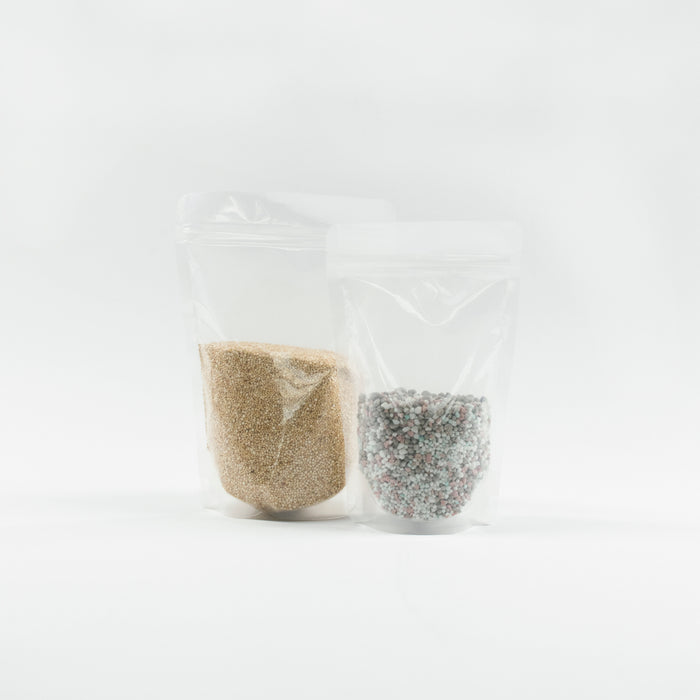 Clear Stand Up Pouches With Resealable Zip & Tear Notch - Titan Packaging