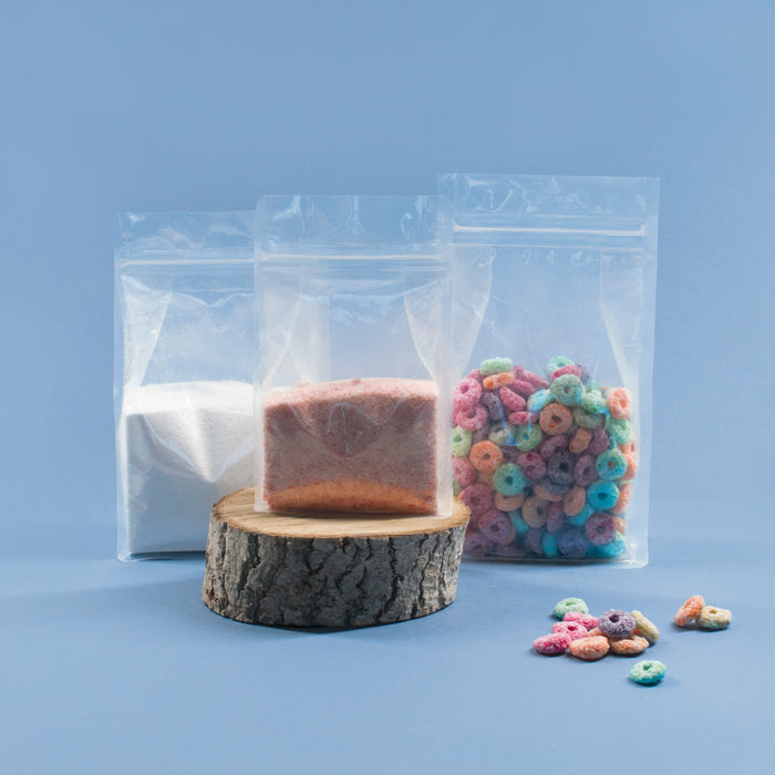 Clear Flat Bottom Pouch with Tear Notch & Resealable Zip - Titan Packaging