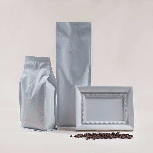 Matte Black & White Coffee Flat Bottom Bag with Resealable Zip & Air Valve - Titan Packaging