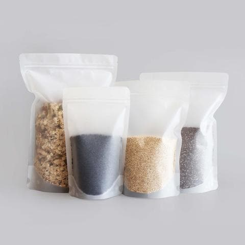 Matte Clear Stand Up Pouches With Resealable Zip & Tear Notch (Frosted Bag) - Titan Packaging