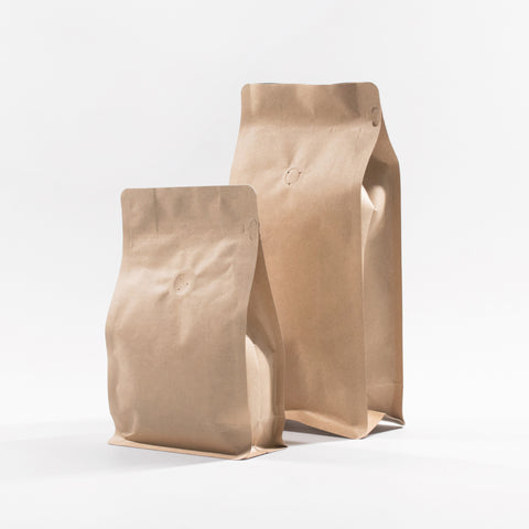 Kraft Paper Coffee Flat Bottom Bag with Resealable Zip & Air Valve
