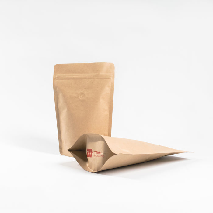 Kraft Paper Stand Up Pouches with Air Valve For Coffee - Titan Packaging