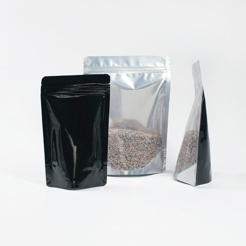 Clear/Foil/Black Stand Up Pouches With Resealable Zip & Tear Notch