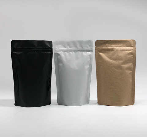 Kraft Paper Stand Up Pouch with Resealable Zip & Tear Notch
