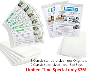 UltimateCloth Special Buy:  Classic White Multi-Sized Cleaning Cloths - Combo Classics Special 5 Original Classics and 2 supersized BadBoys
