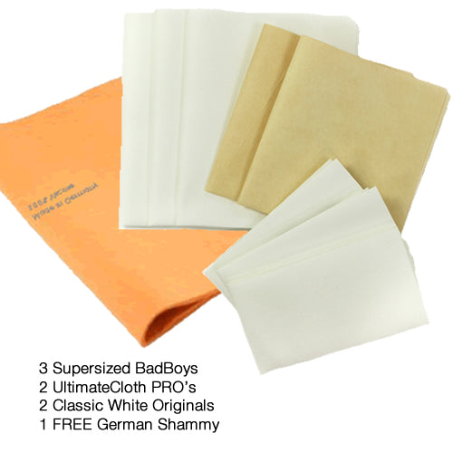 EXPANDED Vehicle Cleaning Cloth Package: 3 Classic White Originals; 3 Classic White Supersized; 2 UltimateCloth PROs and a FREE German Shammy (9 total cleaning cloths) Special pricing $54