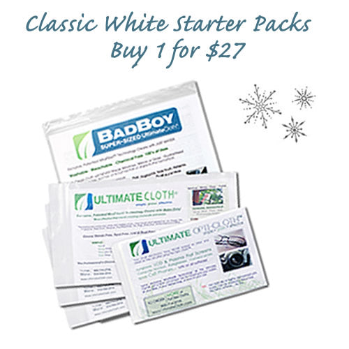 Combo 8 Piece 'STARTER PACK' HOLIDAY Sale! Multi-Size Classic White Cleaning Cloths: 4 Originals; 1 Supersize; 3 Mini for $27 (Save 49%)