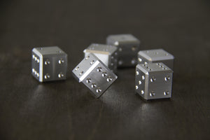 LIMITED EDITION - 7075 Raw Aluminum D6 - GRAVITY DICE Precision Machined, Perfectly Balanced Metal Dice