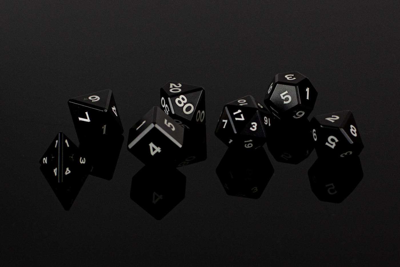 Metal Polyhedral RPG Dice Set - Black - GRAVITY DICE