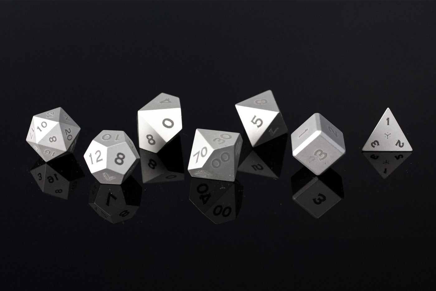 Version 1 Metal Polyhedral RPG Dice Set - Silver - Limited Release - GRAVITY DICE