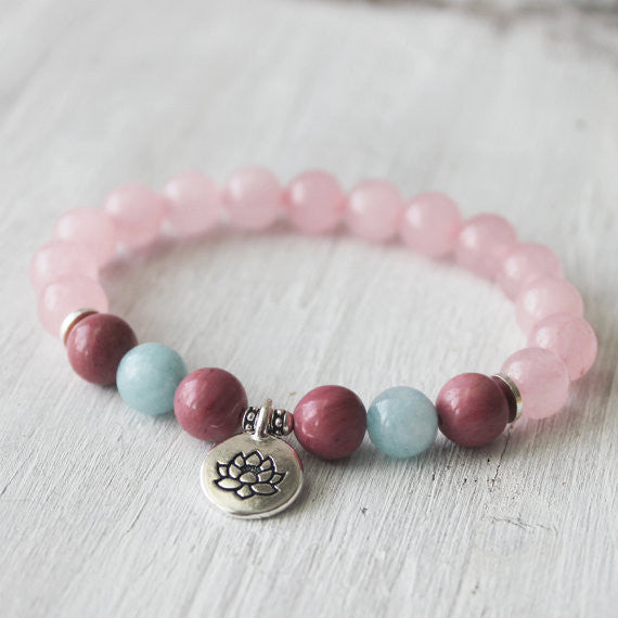 Rhodonite Aquamarine Rose Quartz Lotus Healing Bracelet