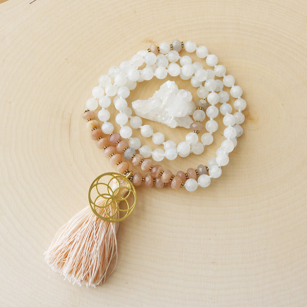Moonstone Sunstone Flower of Life Mala