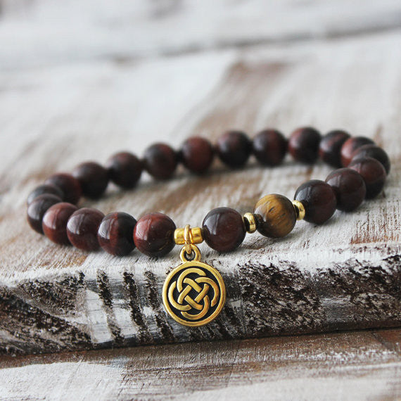 Red & Yellow Tiger Eye Celtic Healing Bracelet