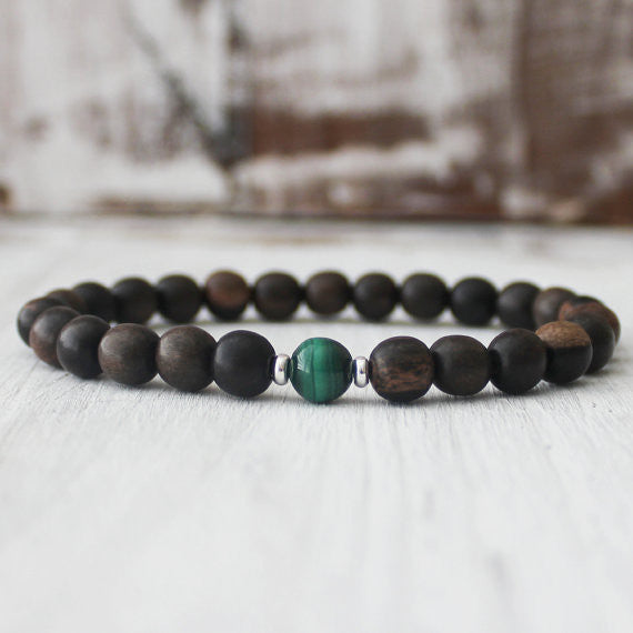 Malachite Ebony Wood Nature Healing Bracelet