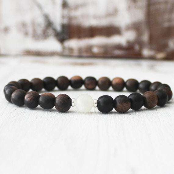 Moonstone Ebony Wood Energy Healing Bracelet