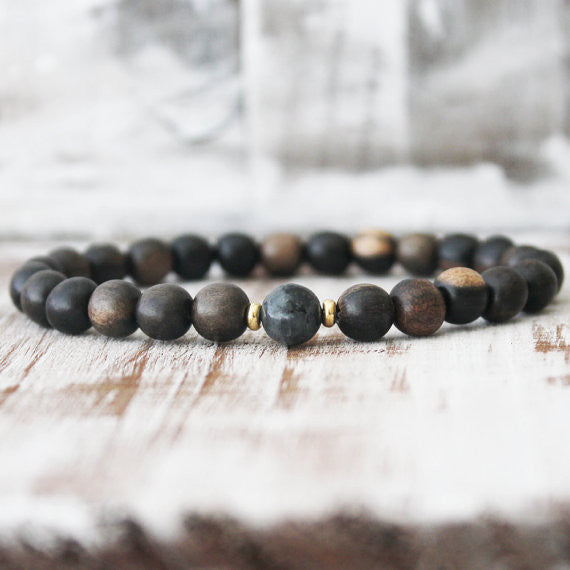 Black Labradorite Ebony Wood Everyday Healing Bracelet