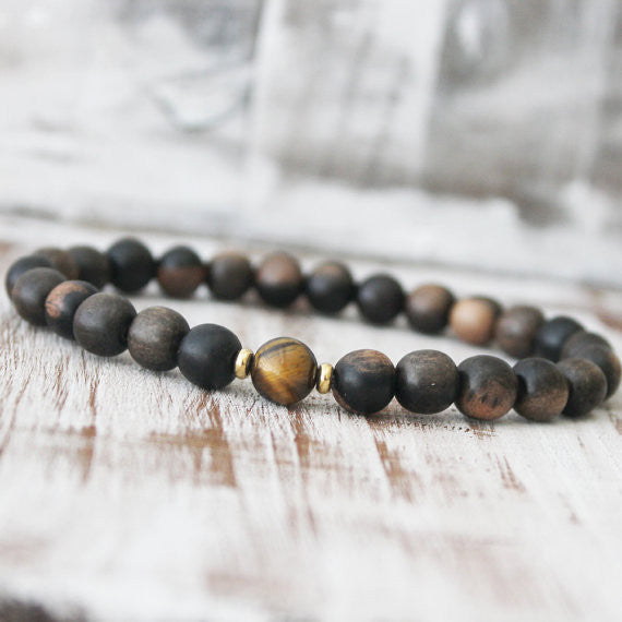 Yellow Tiger Eye Ebony Wood Earth Healing Bracelet