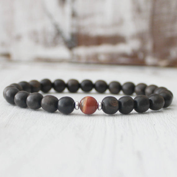Red Jasper Ebony Wood Meditation Yoga Bracelet