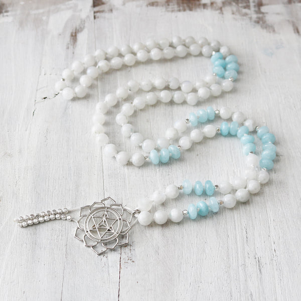 Aquamarine Flower of Life Mala