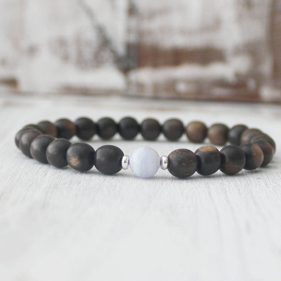 Blue Lace Agate Ebony Wood Yoga Healing Bracelet