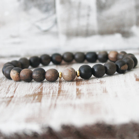 Petrified Wood Jasper Ebony Wood Energy Bracelet