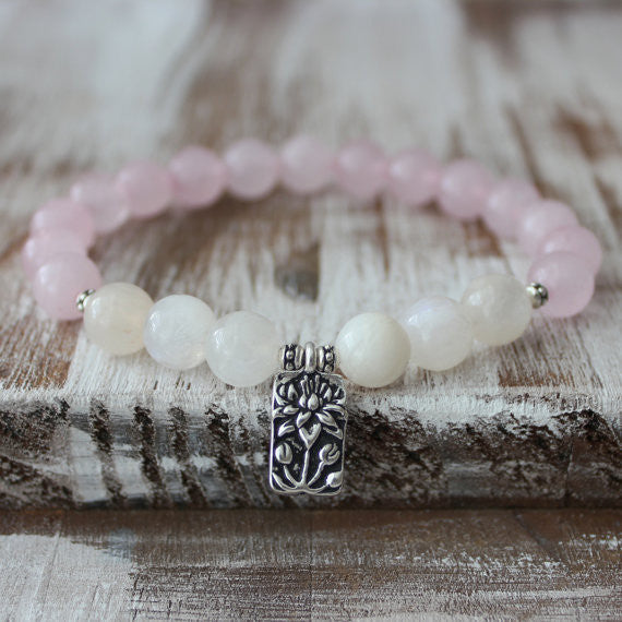 Rose Quartz Moonstone Lotus Healing Bracelet