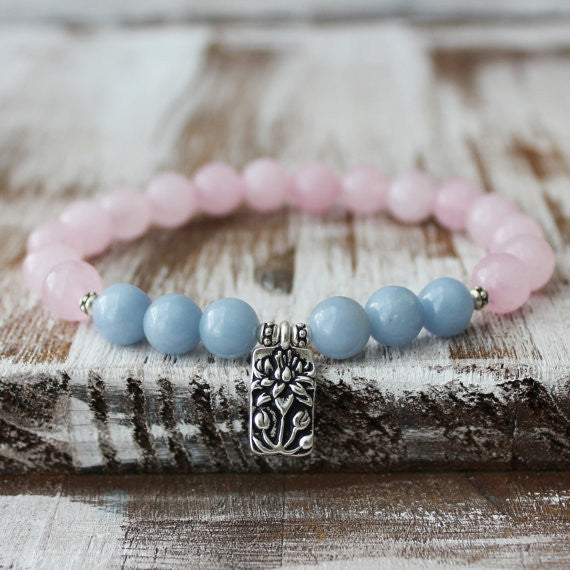 Rose Quartz Angelite Lotus Healing Bracelet