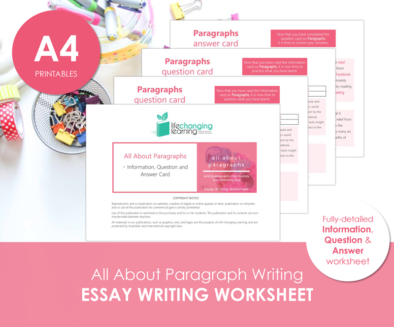 Writing Worksheets Lifechanging Learning – Writing Paragraphs Worksheets
