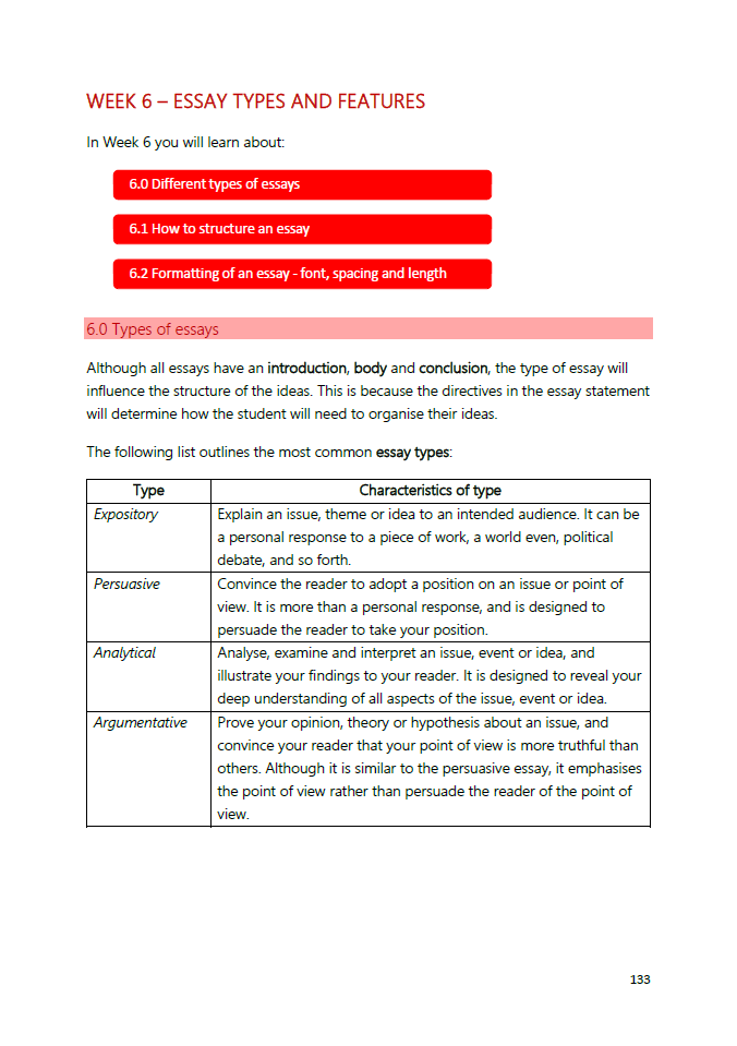 list the different types of essay and their characteristics