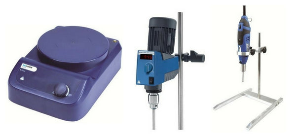 A magnetic stirrer, an overhead mixer, and a homogenizer.