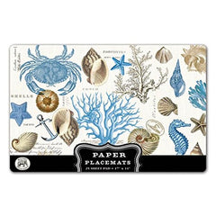25 Seashore Luxury Paper Placemats, Michel Design Works, Disposable Paper Tab...