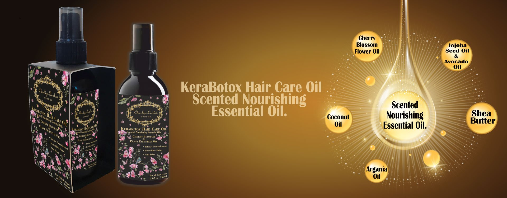 Exposure to environmental stress and cosmetic treatments, such as bleaching or colouring can damage the hair severely. Our KeraBotox Hair Care Oil, Scented Nourishing Essential Oil has a naturally-derived silicone replacement improves combing forces, static effects, curl retentions and the censorial profile of hair