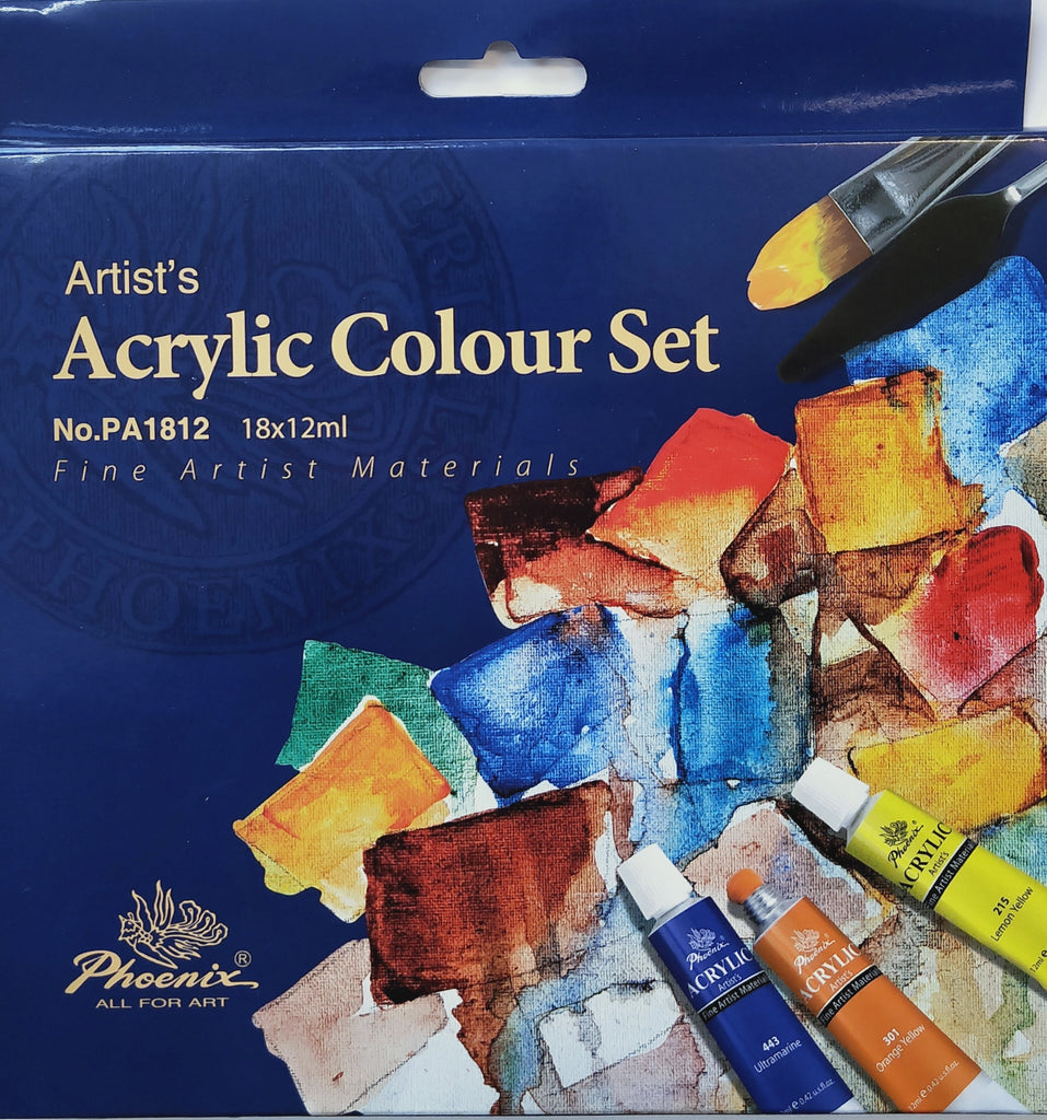 Artists Acrylic Colour Set 18   12ml Tubes