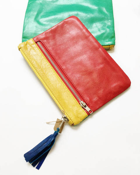 Colorful leather clutch bags