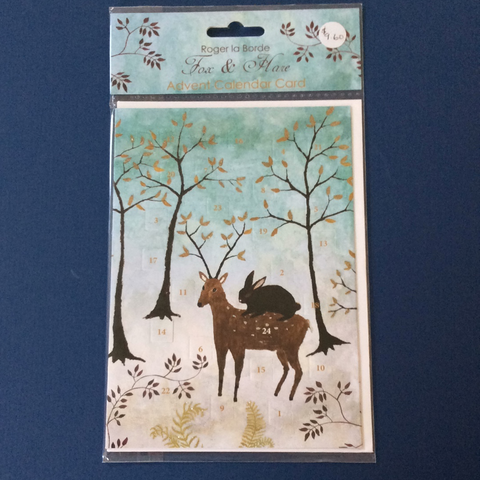 Roger la Borde Fox and Hare Advent Calendar Card and Envelope