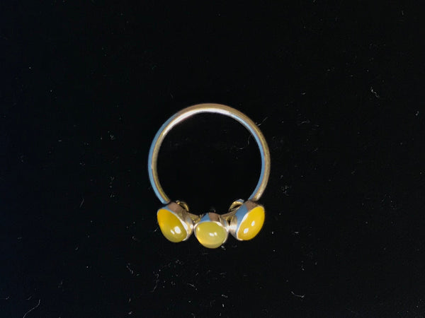 Yellow agate silver ring