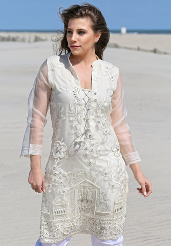 EMBROIDERED CHIFFON SHIRT SSK-157