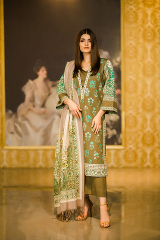 Al Karam Stitched Winter 3 Piece GFSU1904