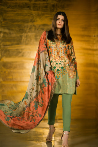 Al Karam Stitched Winter 3 Piece GFSU1917