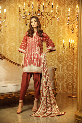 Al Karam Stitched Winter 3 Piece GFSU1921