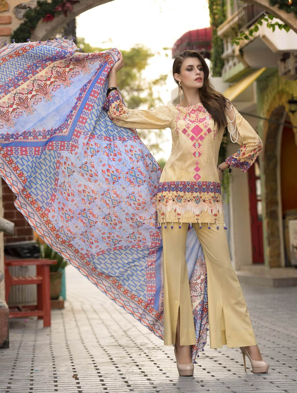 STITCHED EMB. LAWN 3 PC KL-4056