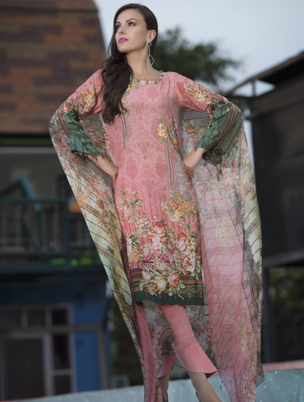 STITCHED CHIF. DUPATTA LAWN 3 PC  KC-5041