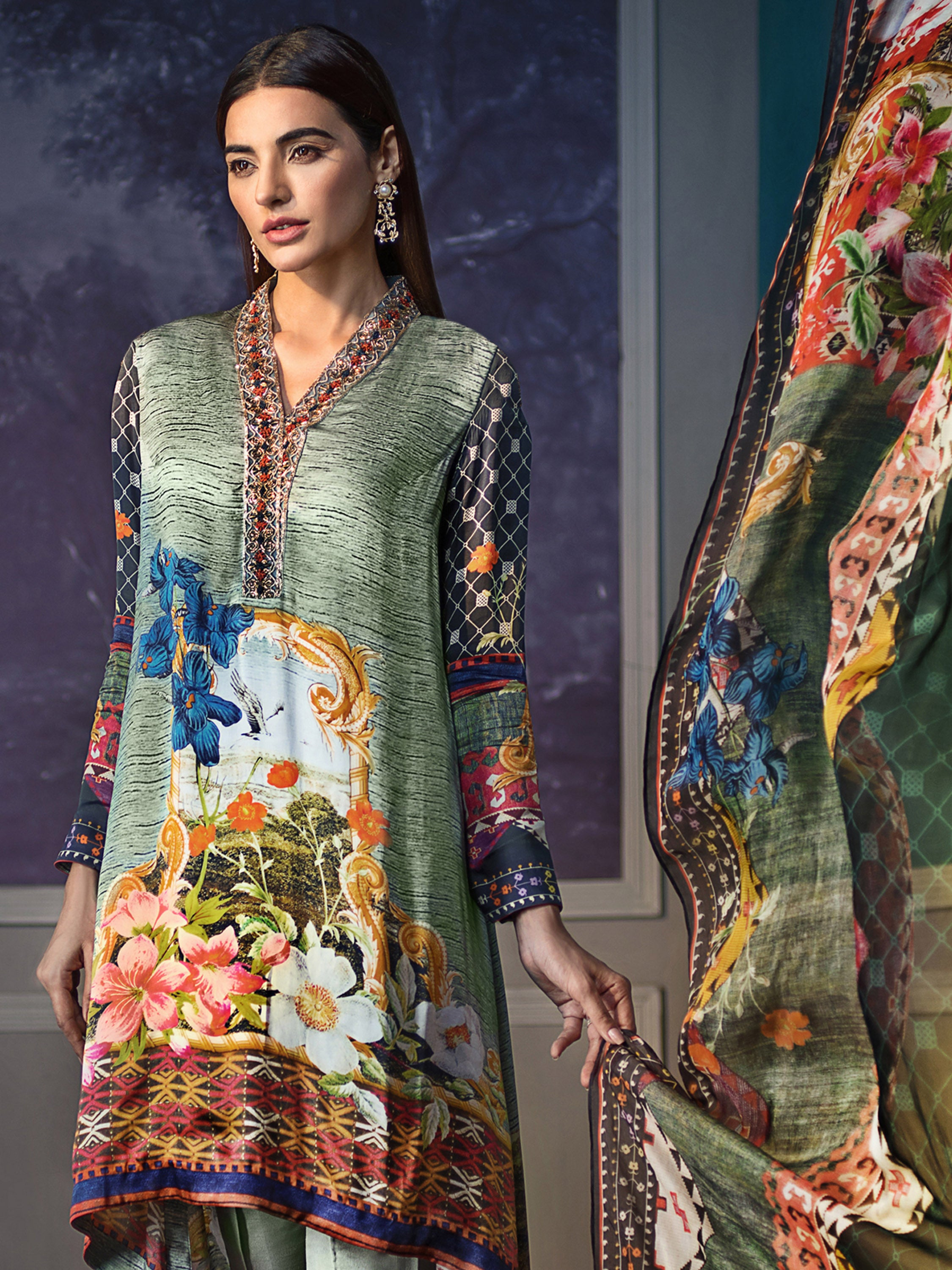 GUL AHMED DIGITAL SILK 3 Pcs Digital Silk DGS#75